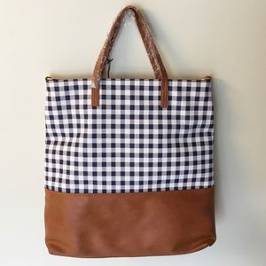 NWT Sole Society Jacey Gingham Tote Bag